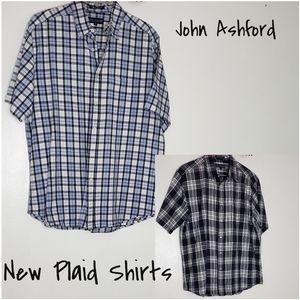 2 John Ashford New Plaid Shirts Mens Tall